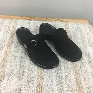 Clarks Black Suede Belt Buckle Slip On Clog